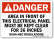 Danger ANSI Keep Electrical Panel Area Clear Sign