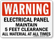 Warning Do Not Block Electrical Panel Sign