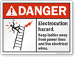 Electrocution Hazard Keep Ladder Away Danger Sign