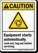 Equipment Starts Automatically ANSI Caution Sign