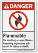 Flammable No Smoking Or Open Flames Danger Sign