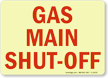Gas Main Shut Off Sign
