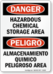 Hazardous Chemical Storage Bilingual Sign