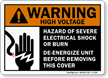 Warning ANSI High Voltage Electrical Shock Hazard Sign