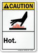 Caution ANSI Hot Sign