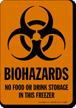 No Food Storage In This Freezer Biohazards Sign
