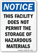 No Hazardous Materials Storage Sign