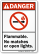 ANSI Danger Flammable No Matches Open Lights Sign