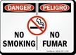 Danger / Peligro No Smoking Sign Bilingual