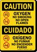 Oxygen No Smoking No Open Flames Bilingual Sign