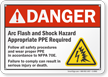 Danger Arc Flash Shock Hazard Sign