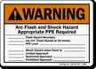 Warning Arc Flash Shock Hazard Sign
