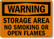 Storage Area No Smoking Or Open Flames Sign