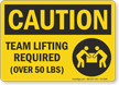 Team Lifting Required Over 50 Lbs OSHA Caution Sign
