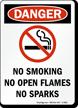 Danger No Smoking No Open Flames Sign