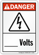 Danger ANSI High Voltage, Add Volts Sign