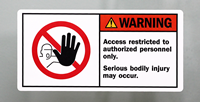 Access Restricted To Authorized Personnel Only Labels
