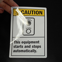 Caution: Equipment Starts Stops Automatically (Ansi) Labels