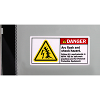 Arc Flash Shock Hazard Follow NFPA Requirements Labels