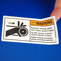 Exposed Moving Parts Cause Severe Injury Labels