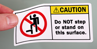 Do NOT Step Stand Surface Label