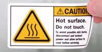 Hot Surface Do Not Touch Lockout Power Labels