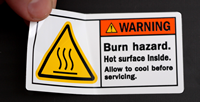 Burn Hazard. Hot Surface Inside Label