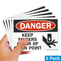 Danger Keep Fingers Clear Pinch Point Label