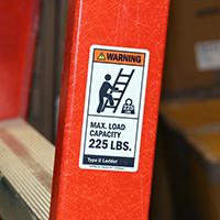 Max. Load Capacity 225 LBS. Label