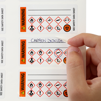 Warning, Biohazard and GHS Secondary Labels