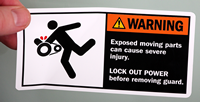 Exposed Moving Parts Can Cause Severe Injury Labels