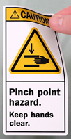 Pinch Point Hazard Keep Hands Clear ANSI Labels