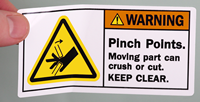 Pinch Points Moving Part Keep Clear Warning Label