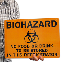 Biohazard Food Drink Stored Refrigerator Signs