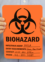 Biohazard Infectious Agent Entry Requirements Signs