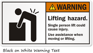 Black on White Warning Label Text
