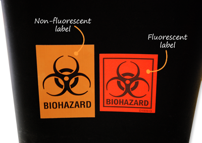 Biohazard fluorescent and non-fluorescent label