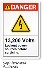 13200 Volt Warning Label