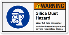 Silica Dust Hazard Label with Symbol on Left