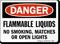 Flammable Liquids No Smoking, Matches, Open Lights Sign