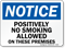 Notice Positively No Smoking Allowed Sign